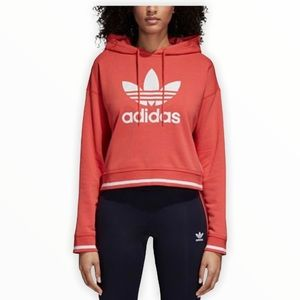 Adidas original cropped hoodie orange medium